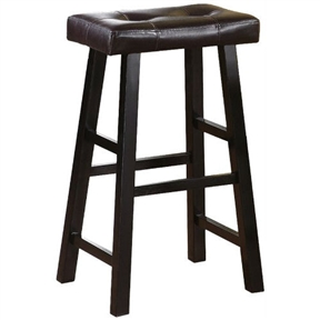 Set Of 2 29 Inch Espresso Bar Stools With Faux Leather