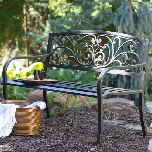 Curved Metal Garden Bench With Heart Pattern In Black