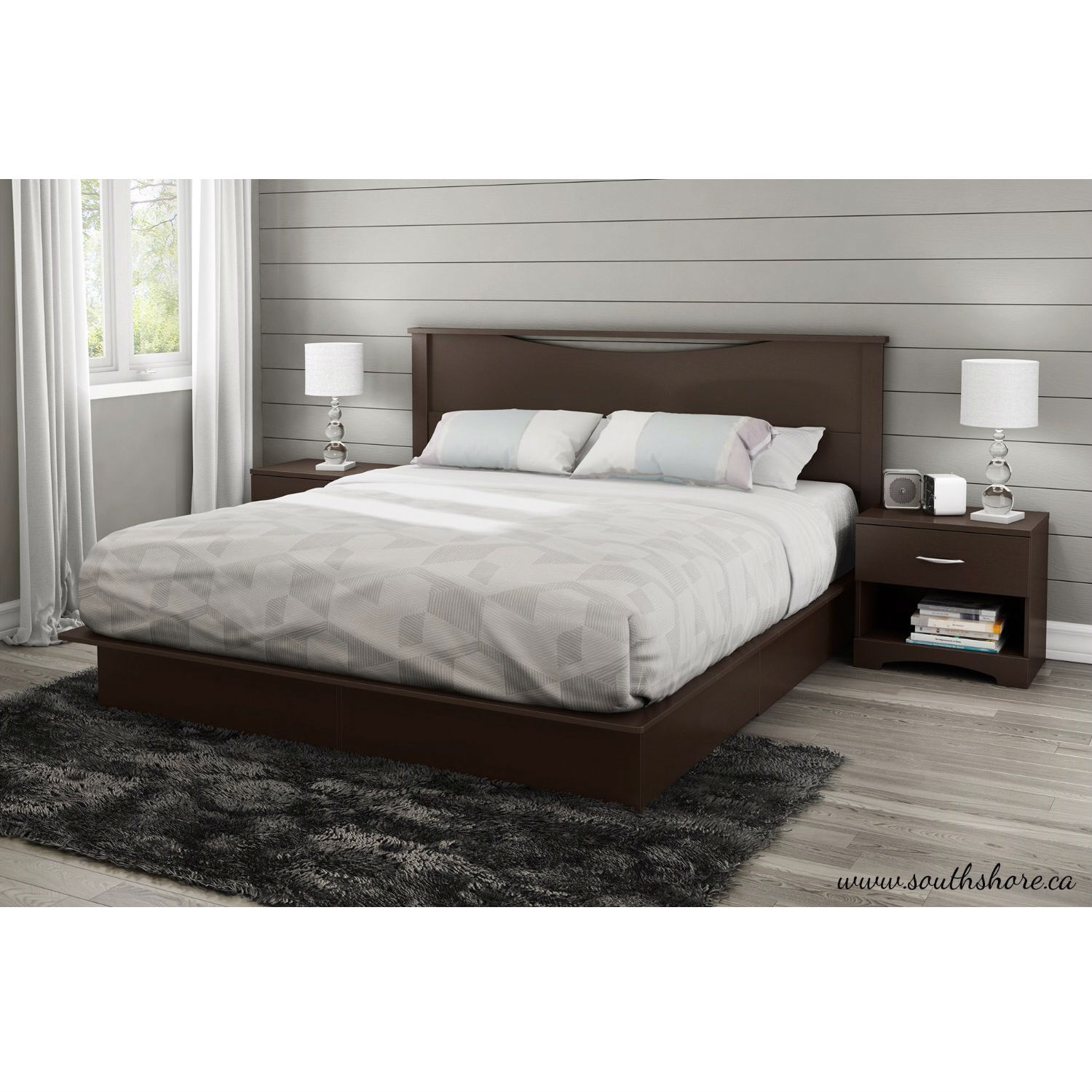 king size modern platform bed with 2 storage drawers in chocolate ebay. Black Bedroom Furniture Sets. Home Design Ideas