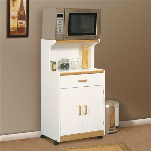 White Microwave Cart With Natural Wood Finish Accents And