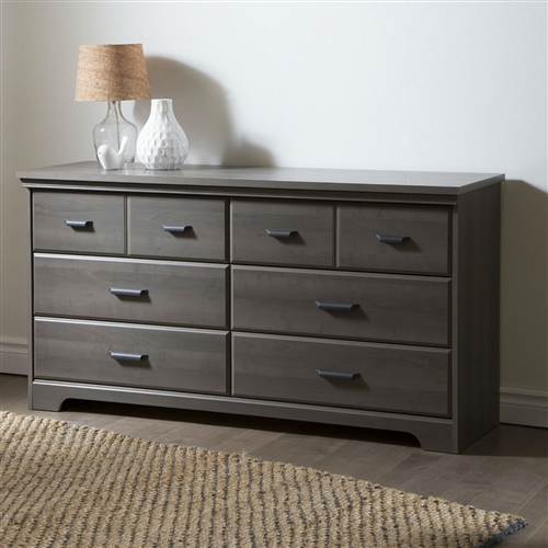 Bedroom 6 Drawer Double Dresser Wardrobe Cabinet In Grey