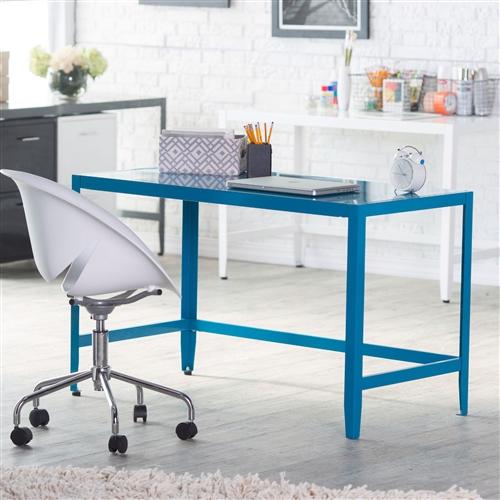 Simple Modern Metal fice Desk in Teal Blue Finish