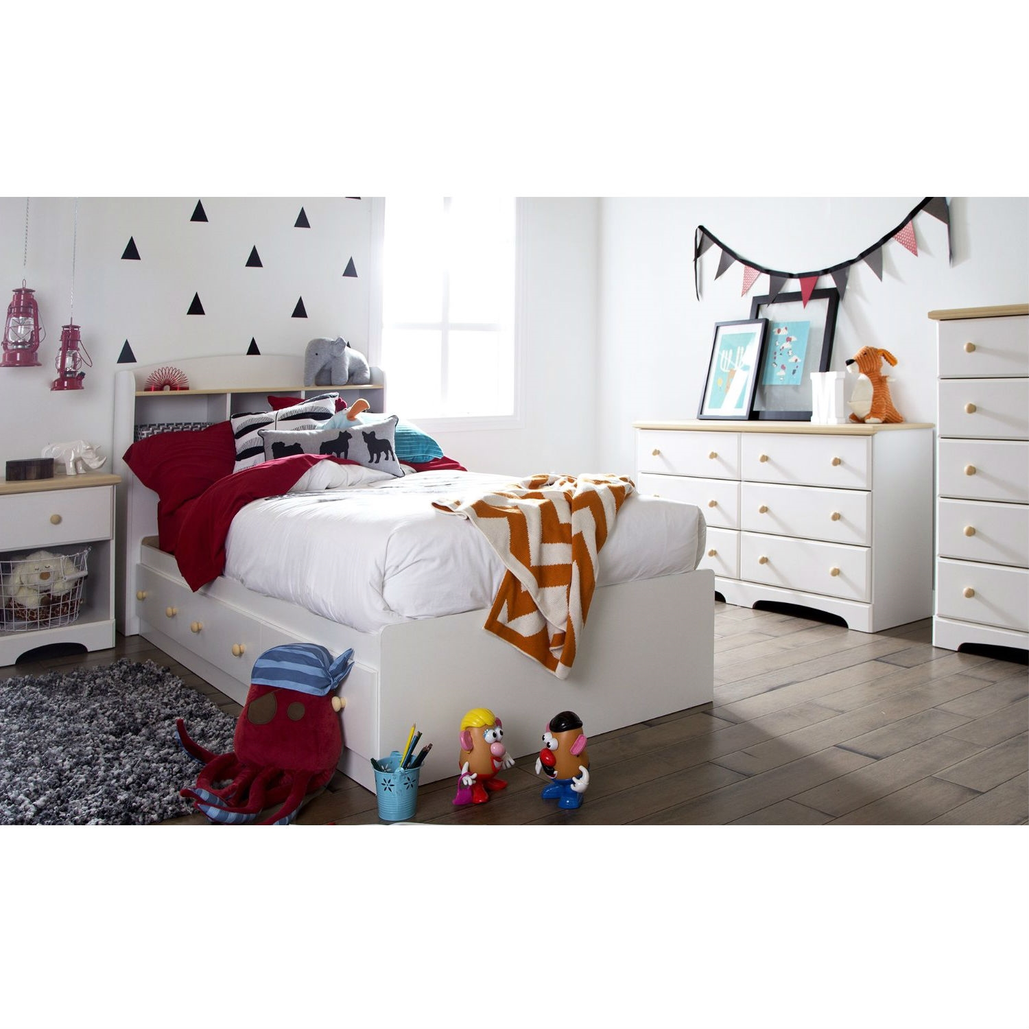 twin size white wood platform bed daybed with storage drawers ebay. Black Bedroom Furniture Sets. Home Design Ideas