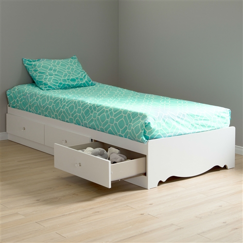 Twin Size White Wood Platform Bed Daybed With Storage