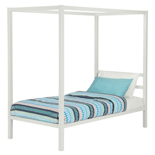 Twin Size White Metal Platform Canopy Bed Frame No Box