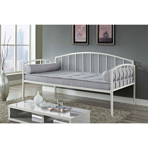 Twin Size White Metal Day Bed Frame 600 Lb Weight Limit