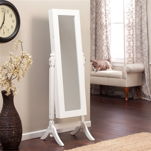 White Full Length Tilting Cheval Style Floor Mirror With