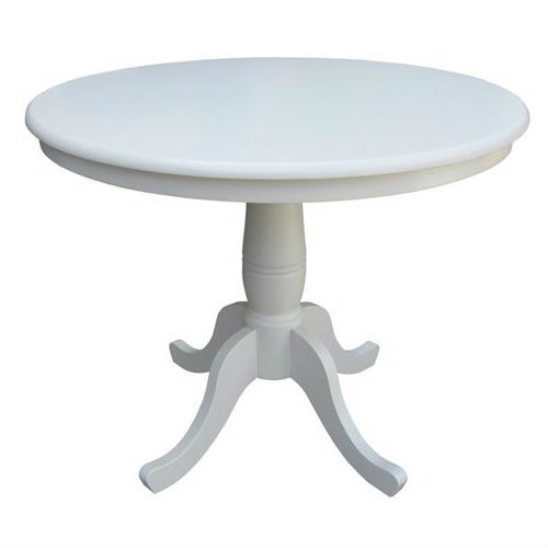 Round Inch Solid Wood Dining Table In White With Pedestal Base - 36 inch oval dining table