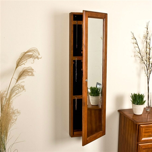 wall mount jewelry armoire mirror. Wall Mount Jewelry Armoire Cabinet And Mirror In Oak Wood Finish | FastFurnishings.com