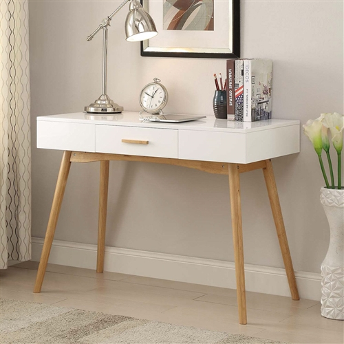 Modern Laptop Writing Desk In White With Natural Mid