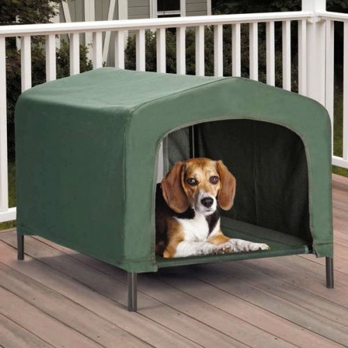 Portable Outdoor Dog House Elevated Covered Doggy Cot