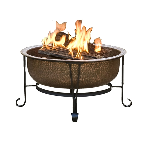 Hammered Copper Fire Pit With Heavy Duty Spark Guard Cover
