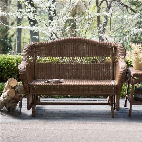 Walnut Resin Wicker 2 Seat Outdoor Glider Bench Patio Arm
