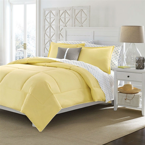 Twin Size Cotton Comforter In Solid Yellow Machine