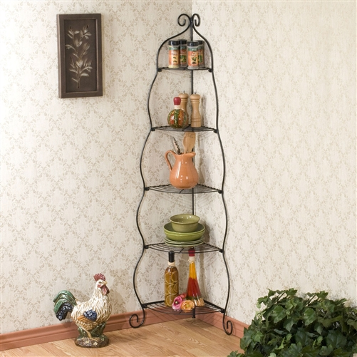 Corner Bakers Rack 5 Tier Shelves With Decorative Metal