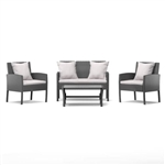 Modern 4-Piece Outdoor Grey Resin Wicker Patio Furniture Set with Cushions