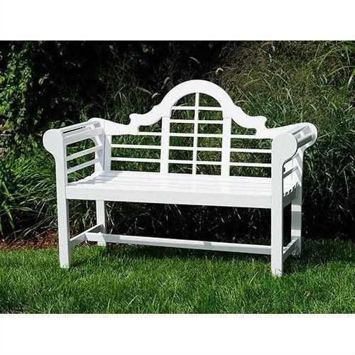 Wondrous Outdoor Lattice Back Garden Bench In White Wood Finish Beatyapartments Chair Design Images Beatyapartmentscom