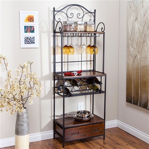 Sturdy Metal And Wood Bakers Rack With Wine Glass And