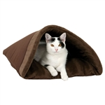 Brown Burrito Kitty Pet Cave Bed - Machine Washable