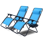 Set of 2 Blue Folding Outdoor Zero Gravity Lounge Chair Recliner