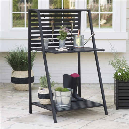 Modern Potting Bench Garden Table Outdoor Bakers Rack