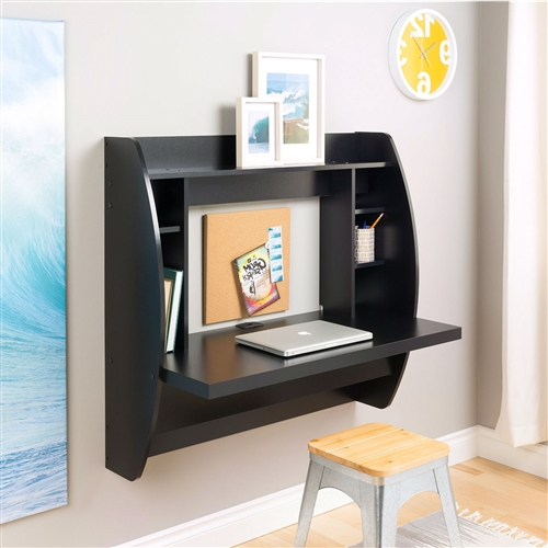 Modern Space Saving Wall Mounted Floating Laptop Desk In Black Fastfurnishings Com