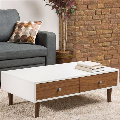 Modern Mid Century Style White Wood Coffee Table With 2