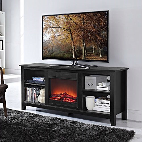 2 In 1 Black Wood Tv Stand With, Electric Fireplace Space Heaters