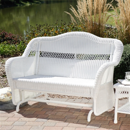 White Resin Wicker Outdoor 2 Seat Loveseat Glider Bench