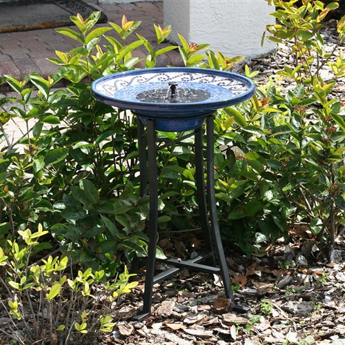 Outdoor Ceramic Bowl Fountain Bird Bath With Metal Stand