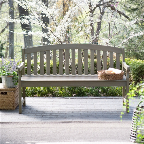 Outdoor Curved Back 5 Ft Garden Bench With Arms In