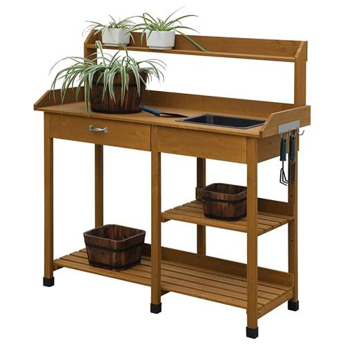 Modern Garden Potting Bench Table With Sink Storage Shelves Amp Drawer Fastfurnishings Com