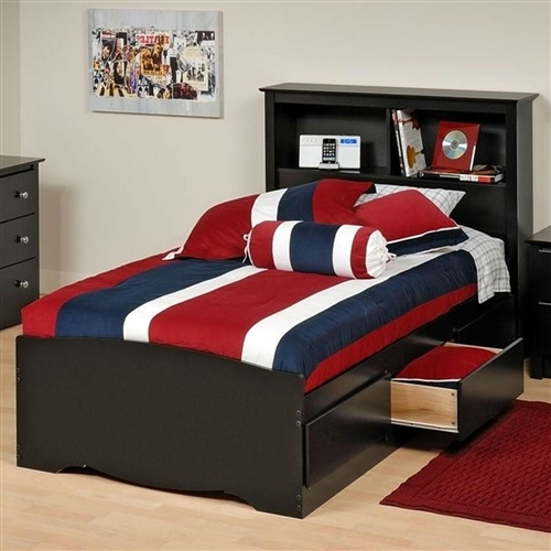 Twin Xl Platform Bed With Bookcase Headboard Amp 3 Storage Drawers Fastfurnishings Com