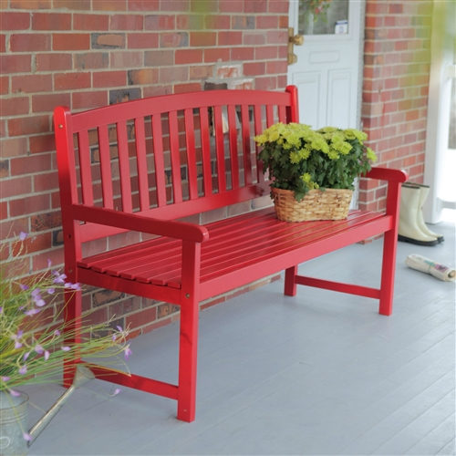5 Ft Outdoor Garden Bench In Red Wood Finish With Armrest