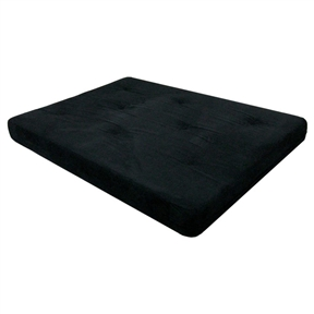 Full Size 6 Inch Thick Futon Mattress With Black Microfiber Cover