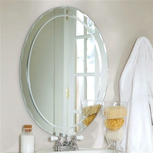 Oval Frame Less Bathroom Vanity Wall Mirror With Beveled