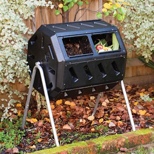 Rotating 37 Gallon 2 Chamber Tumbling Compost Bin Tumbler