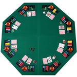 Folding 48-inch Octagon 8 Player Poker Table Top with Carry Case