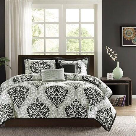 Full Queen 5 Piece Black White Damask Print Comforter Set