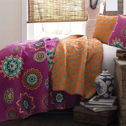 Full Queen Fushia Pink Orange Blue Paisley Geometric 100