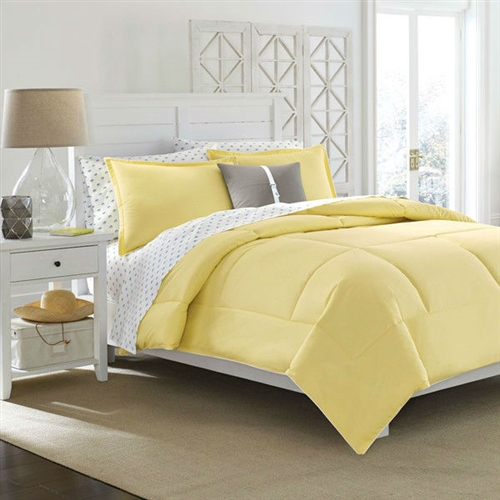 Full Queen Size Cotton Comforter In Solid Yellow Kids
