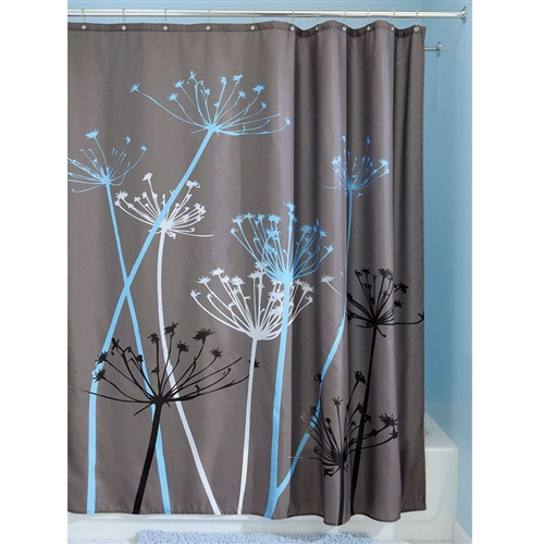 Grey Blue Floral Modern 72 X Inch Shower Curtain