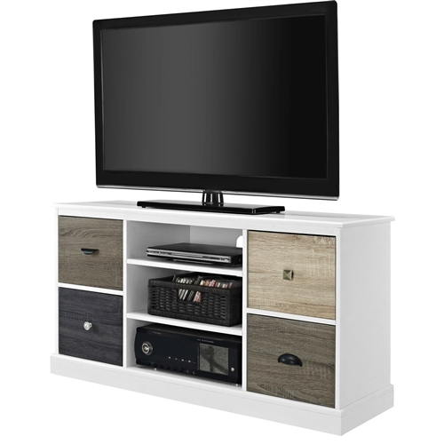 White Wood Finish Tv Stand With Multi Wood Grain Finish
