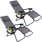 Set of 2 Grey Folding Outdoor Zero Gravity Lounge Chair Recliner