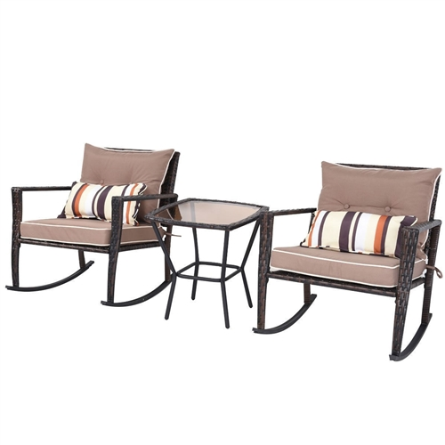 Brown 3 Piece Patio Set Rattan Wicker Rocking Chairs With Coffee