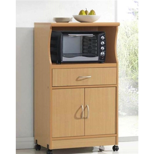 Beech Wood Microwave Cart Kitchen Cabinet With Wheels And