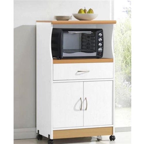 Kitchen Cart With Cabinet: White Kitchen Utility Cabinet Microwave Cart With Caster