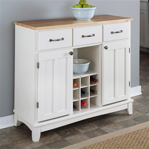 Natural Wood Top Kitchen Island Sideboard Cabinet Wine Rack In White