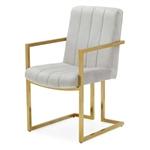 Modern Gray Velvet Channel Tufted Brass-Plated Retro Office Chair