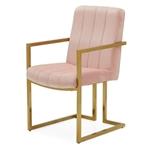 Modern Rose Velvet Channel Tufted Brass-Plated Retro Office Chair